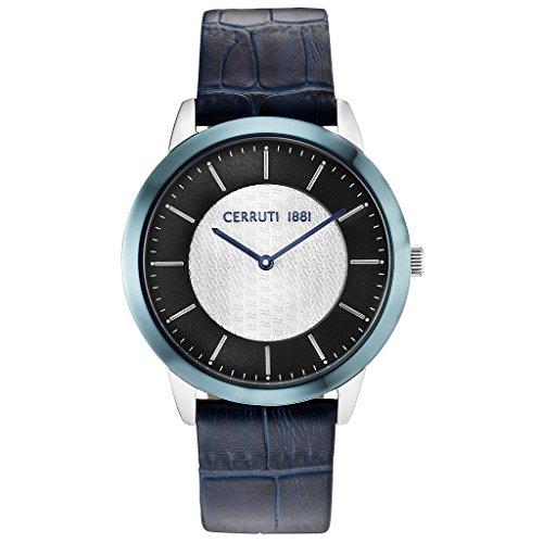CERRUTI CRA148STBL03BL CANNEDI Uhr Lederarmband Edelstahl 50m Analog blau