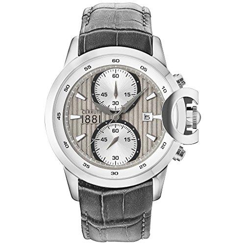 CERRUTI CRA133SN61GY CHIETI Chronograph Uhr Lederarmband Edelstahl 50m Analog Chrono Datum grau