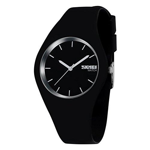 cakcity Sport Uhren Unisex Casual Handgelenk Damen Armbanduhr Analog Quarz Wasserdicht Fashion Herren Armbanduhr Schwarz