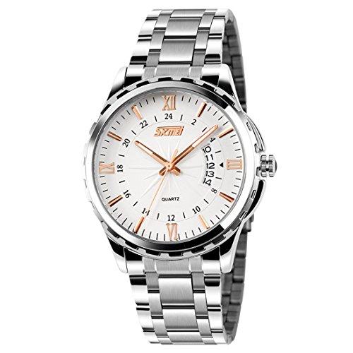 cakcity Herren Wasserdicht Business Casual Silber Stahl Quarz Kleid Armbanduhr mit rosegoldenem Pointer