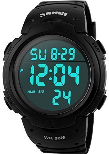 cakcity Military Herren Sport schlichtes Design Digitales LED Display Grosse Ziffern Schwarz Wasserdicht Casual Uhr