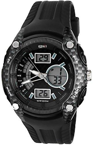 Armbanduhr OCEANIC F1 Carbon LCD Analog WR100M fuer Herren mit vielen Funktionen O9302 3