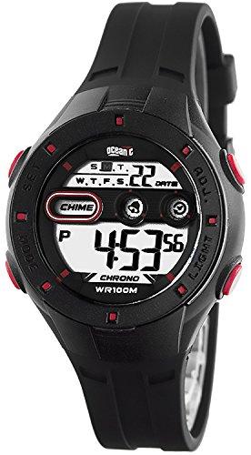 Armbanduhr OCEANIC fuer Kinder WR100m viele Funktionen Armbanduhrenfarbe schwarz rot