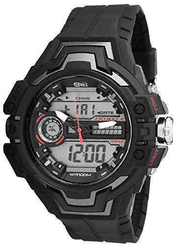 Grosse OCEANIC LCD Analog Armbanduhr Unisex WR100m Timer Stoppuhr 3xAlarm AD1082 B
