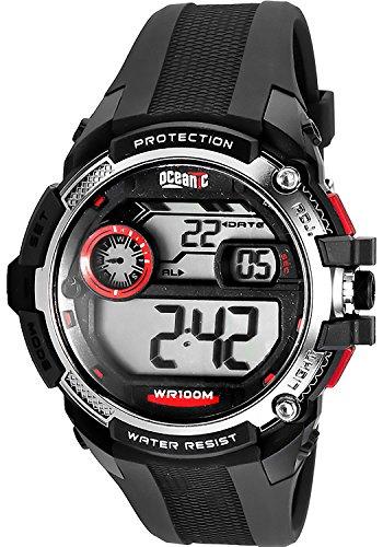 Sportliche Armbanduhr OCEANIC Protection fuer Herren und Jungen WR100m Armbanduhrenfarbe schwarz rot