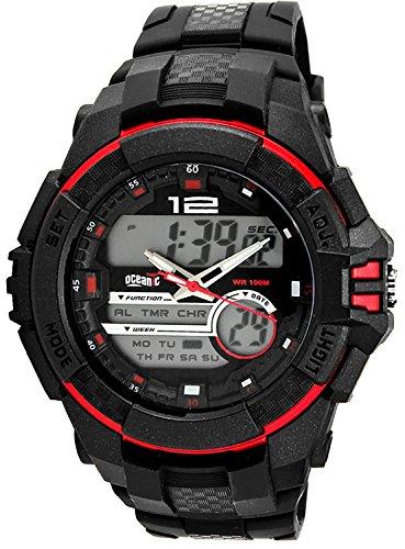 Grosse sportliche OCEANIC Armbanduhr fuer Herren digital analog WR100m nickelfrei 9201DA 2