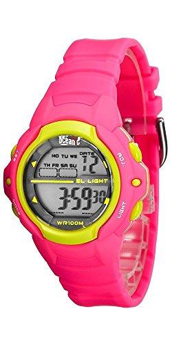 Sportliche OCEANIC Armbanduhr fuer Maedchen und Damen mit Alarm Timer Stoppuhr 2er Zeitzone Farbe pink
