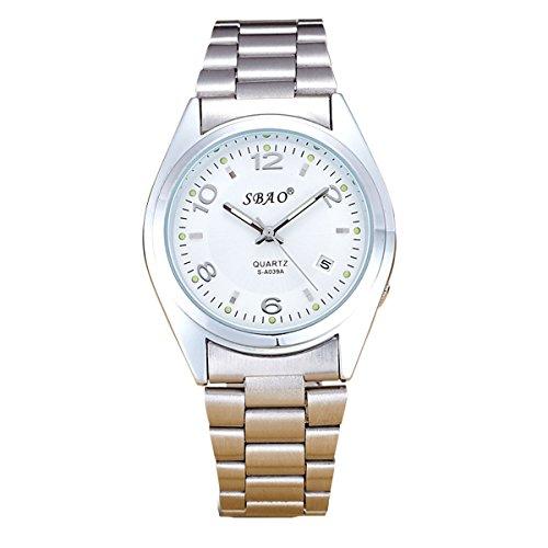 Geniessen Uhr Armbanduhren Wasserdicht Sportuhren Leuchtzeiger fuer Junge Sport Edelstahlarmband Leuchtend