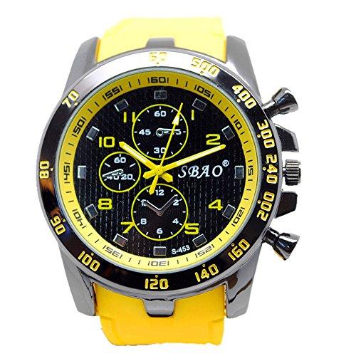 Geniessen Uhr Armbanduhren Wasserdicht Sportuhren Leuchtzeiger fuer Junge Sport Hell Farbe Gelb