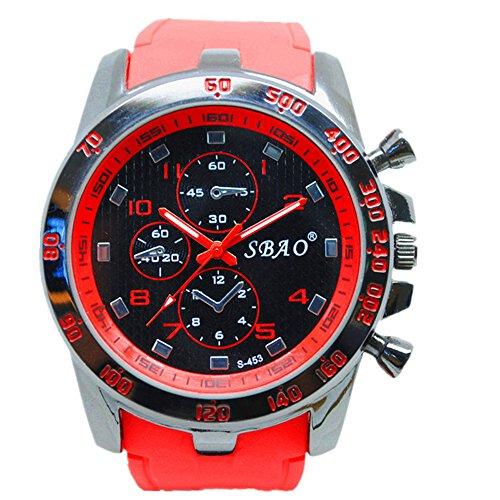 Geniessen Uhr Armbanduhren Wasserdicht Sportuhren Leuchtzeiger fuer Junge Sport Hell Farbe Rot