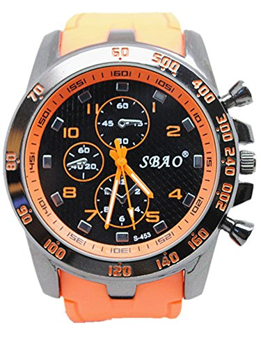 Geniessen Uhr Armbanduhren Wasserdicht Sportuhren Leuchtzeiger fuer Junge Sport Hell Farbe Orange