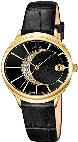 JAGUAR Fashion analog Leder Armband schwarz Quarz Uhr Ziffernblatt perlmutt schwarz UJ803 3