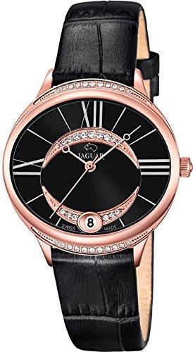 JAGUAR Fashion analog Leder Armband schwarz Quarz Uhr Ziffernblatt perlmutt schwarz UJ804 3