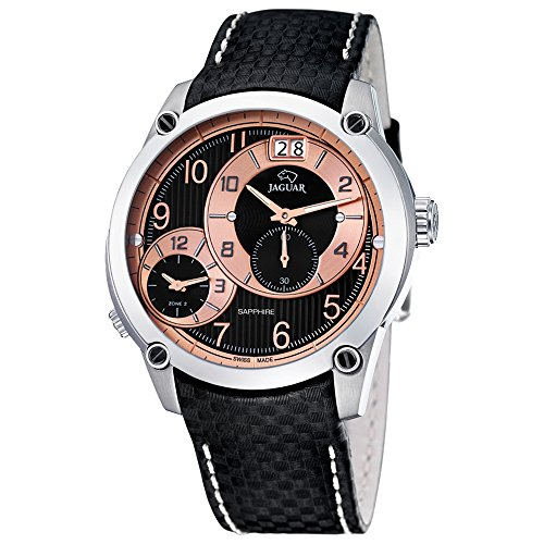 JAGUAR Damen Fashion analog Leder Armband schwarz Quarz Uhr Ziffernblatt silber UJ630 H