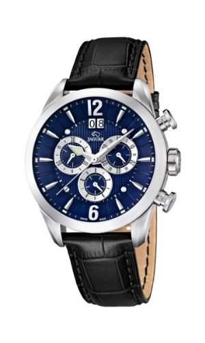Jaguar Herren Armbanduhr Analog Chronograph Datum Edelstahl Lederband J6612