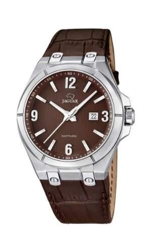 Jaguar Herren Armbanduhr Analog Datum Edelstahl Lederband J6663
