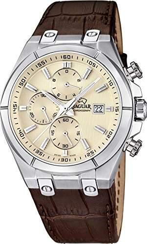 Jaguar Herren Armbanduhr Chronograph Analog Datum Edelstahl Lederband J6671