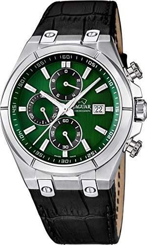 Jaguar Herren Armbanduhr Chronograph Analog Datum Edelstahl Lederband J6673