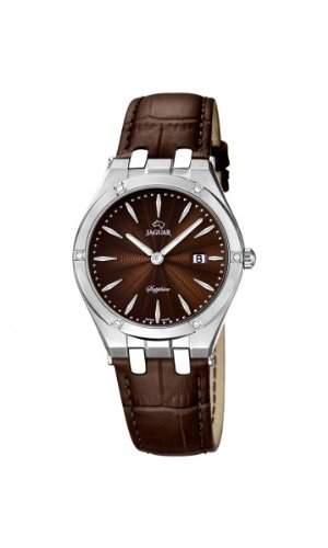 Jaguar Damen Armbanduhr Analog Datum Edelstahl Lederband J6742