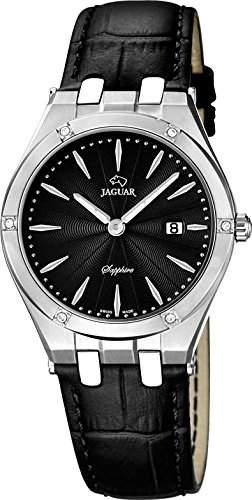 Jaguar Damen Armbanduhr Analog Datum Edelstahl Lederband J6743