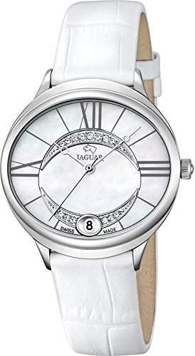 JAGUAR Damen-Armbanduhr Fashion analog Leder-Armband weiss Quarz-Uhr Ziffernblatt perlmutt-weiss UJ8001