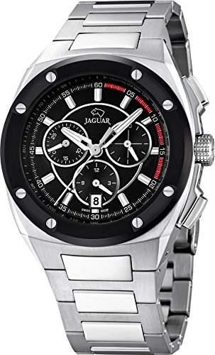 JAGUAR Herren-Armbanduhr Sport analog Edelstahl-Armband silber Quarz-Uhr Ziffernblatt schwarz UJ8074