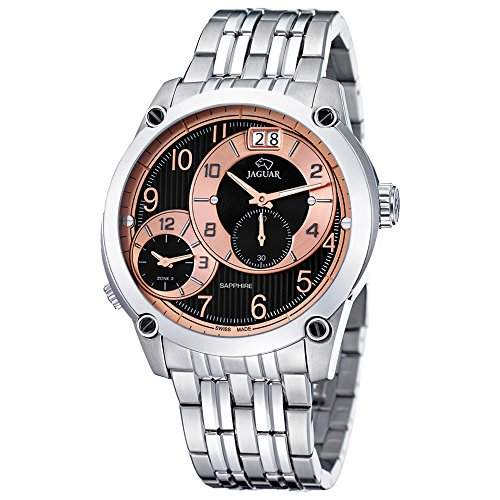 JAGUAR Damen Herren-Armbanduhr Fashion analog Edelstahl-Armband silber Quarz-Uhr Ziffernblatt schwarz-bronze UJ629H