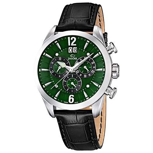 JAGUAR Herren-Armbanduhr Sport analog Leder-Armband schwarz Quarz-Uhr Ziffernblatt dunkelgruen UJ6613