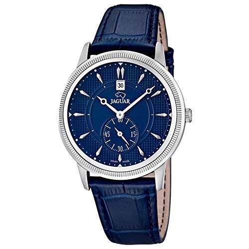 JAGUAR Herren-Armbanduhr Elegant analog Leder-Armband dunkelblau Quarz-Uhr Ziffernblatt dunkelblau UJ6642