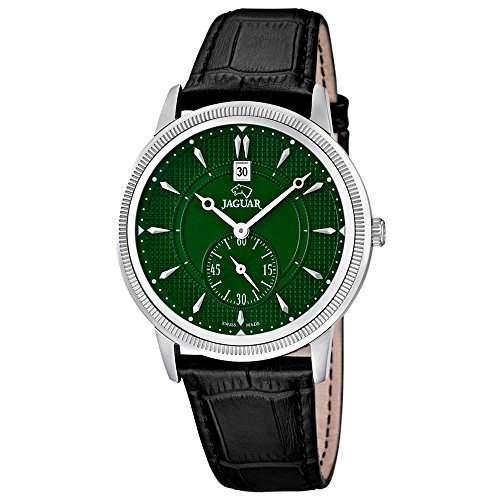 JAGUAR Herren-Armbanduhr Elegant analog Leder-Armband schwarz Quarz-Uhr Ziffernblatt dunkelgruen UJ6643
