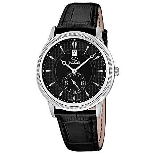 JAGUAR Herren-Armbanduhr Elegant analog Leder-Armband schwarz Quarz-Uhr Ziffernblatt schwarz UJ6644