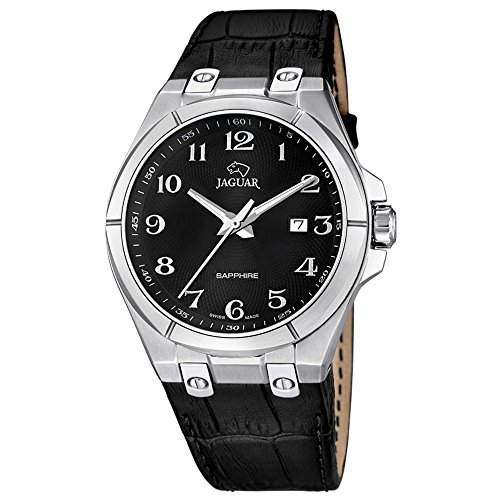 Jaguar Herren-Armbanduhr Elegant analog Leder-Armband schwarz Quarz-Uhr Ziffernblatt schwarz UJ6667