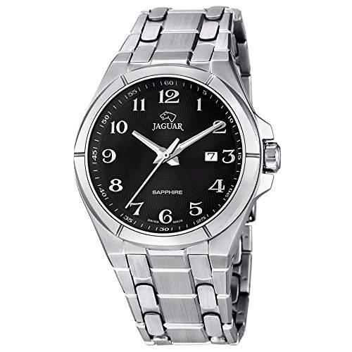 Jaguar Herren-Armbanduhr Elegant analog Edelstahl-Armband silber Quarz-Uhr Ziffernblatt schwarz UJ6687