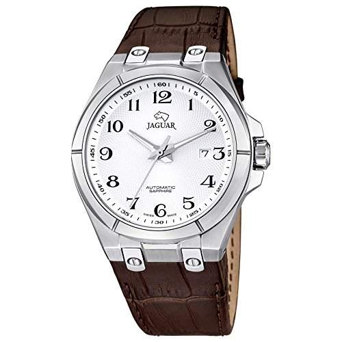 JAGUAR Herren-Armbanduhr Elegant analog Leder-Armband braun Automatik-Uhr Ziffernblatt silber UJ6705
