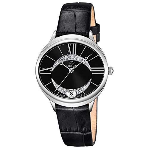 JAGUAR Damen-Armbanduhr Fashion analog Leder-Armband schwarz Quarz-Uhr Ziffernblatt perlmutt-schwarz UJ8003