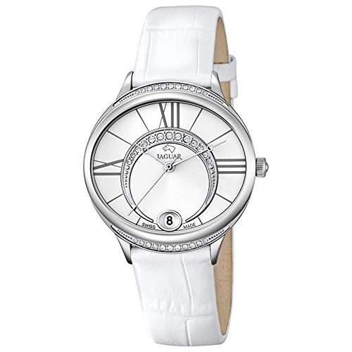 JAGUAR Damen-Armbanduhr Fashion analog Leder-Armband weiss Quarz-Uhr Ziffernblatt perlmutt-weiss UJ8011