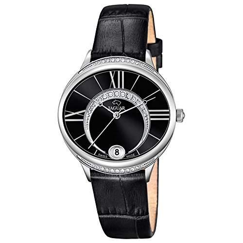 JAGUAR Damen-Armbanduhr Fashion analog Leder-Armband schwarz Quarz-Uhr Ziffernblatt perlmutt-schwarz UJ8013