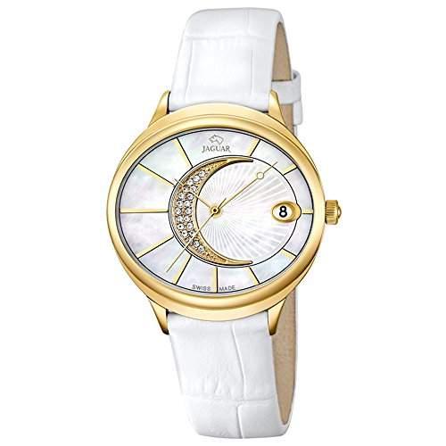 JAGUAR Damen-Armbanduhr Fashion analog Leder-Armband weiss Quarz-Uhr Ziffernblatt perlmutt-weiss UJ8031