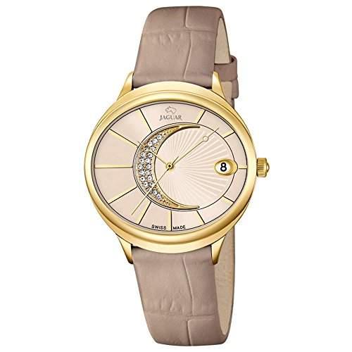 JAGUAR Damen-Armbanduhr Fashion analog Leder-Armband beige Quarz-Uhr Ziffernblatt creme UJ8032