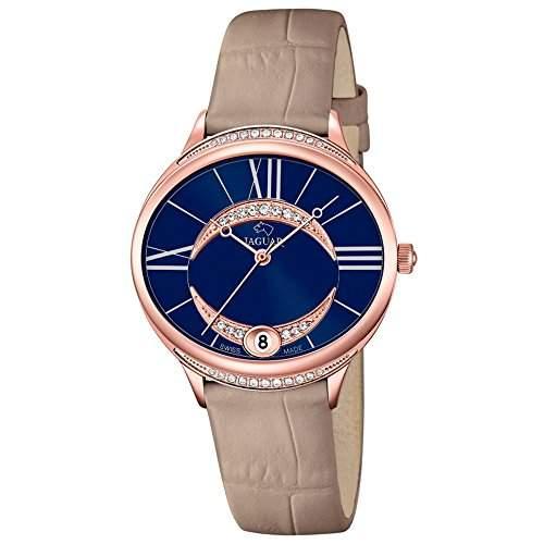 JAGUAR Damen-Armbanduhr Fashion analog Leder-Armband beige Quarz-Uhr Ziffernblatt perlmutt-blau UJ8042