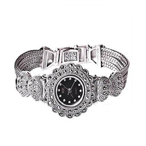 Damen Frauen 925 Sterling Silber Armband mit Markasit Luxus 925 Silber Vintage Armbanduhr