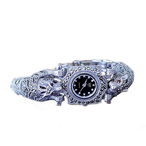 Damen Armbanduhr Thailand Vintage Stil Leopard Markasit Damen Armbanduhr Sterling Silber Schmuck