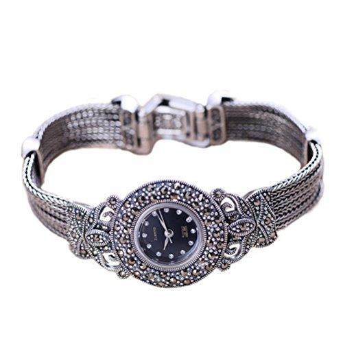 Jade Angel Damen Vintage Style Markasit Sterling Silber Armband Damen Armbanduhr