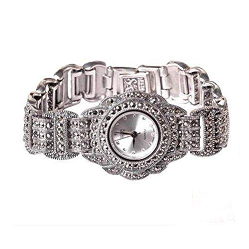 Luxus Damen Armbanduhr Antik Sterling Silber mit Markasit