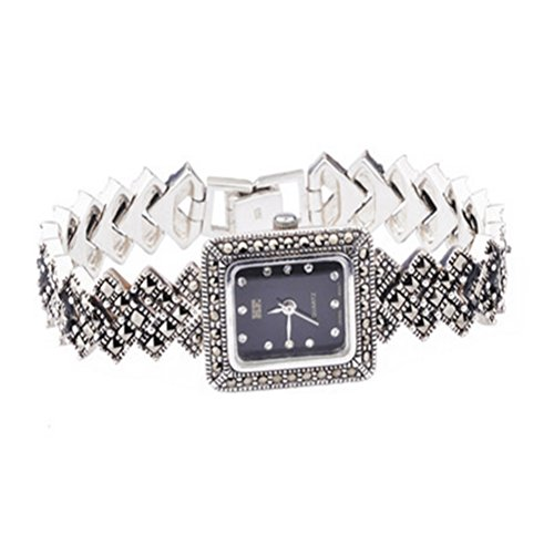 Sterling Silber Armbanduhr 925 Silber Armband mit Markasit Luxus Vintage Schmuck