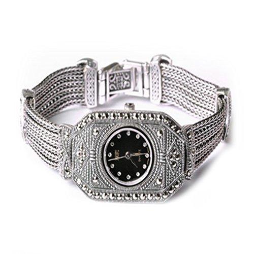 Sterling Silber Luxus Vintage Armbanduhr 925 Silber Armband mit Markasit Schmuck fuer Frauen