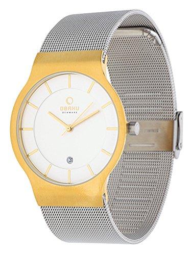 Obaku Slim Line Herren Armbanduhr bicolor Milaneise V133GDGIMC1