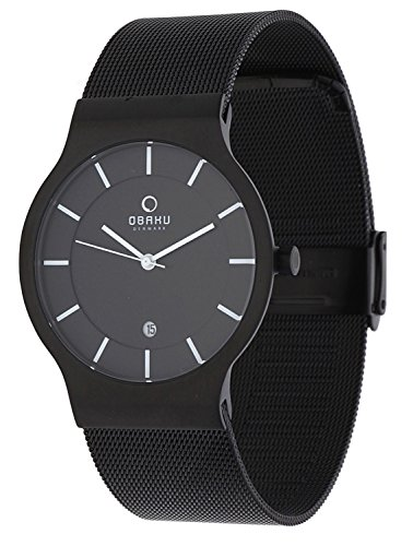 Obaku Slim Line Herren Armbanduhr schwarz Milaneise V133GDBBMB 2