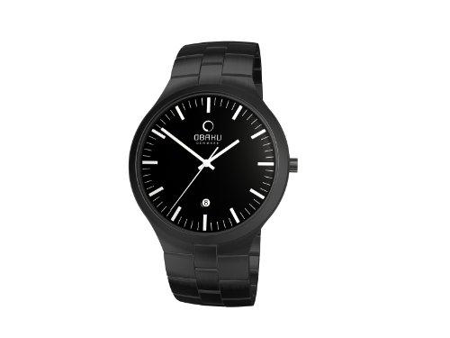 Obaku Harmony Herren Armbanduhr XL Analog Quarz Edelstahl beschichtet 28 V151GBBSB
