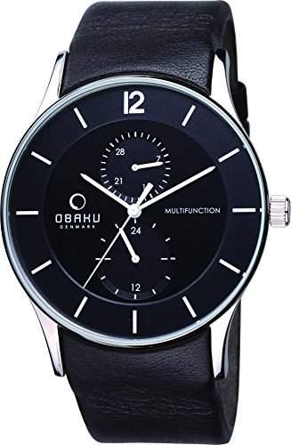 Obaku Denmark Herren-Armbanduhr XL Analog Quarz Leder V157GMCBRB